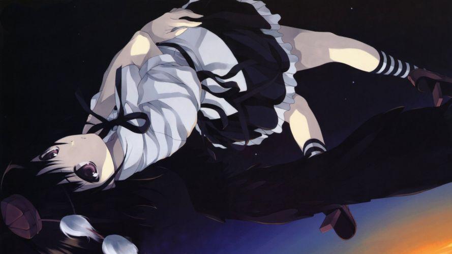 video games Touhou Shameimaru Aya tengu geta striped legwear wallpaper
