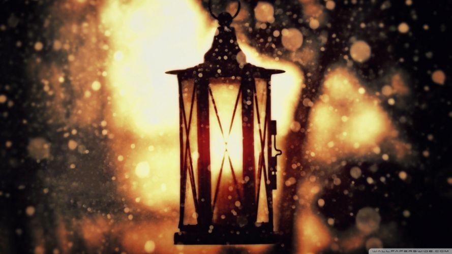 winter lanterns wallpaper