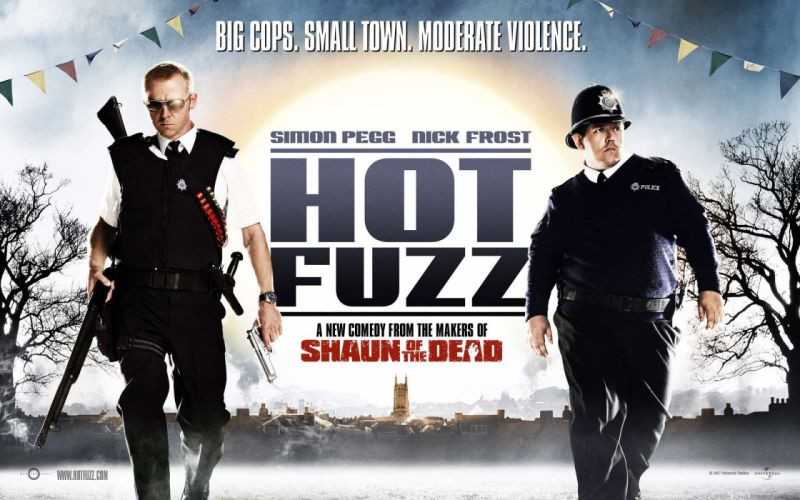 guns Hot Fuzz Simon Pegg Nick Frost movie posters wallpaper