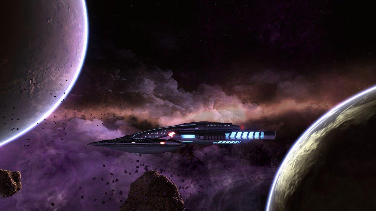 outer space planets nebulae Star Trek Online spaceships wallpaper