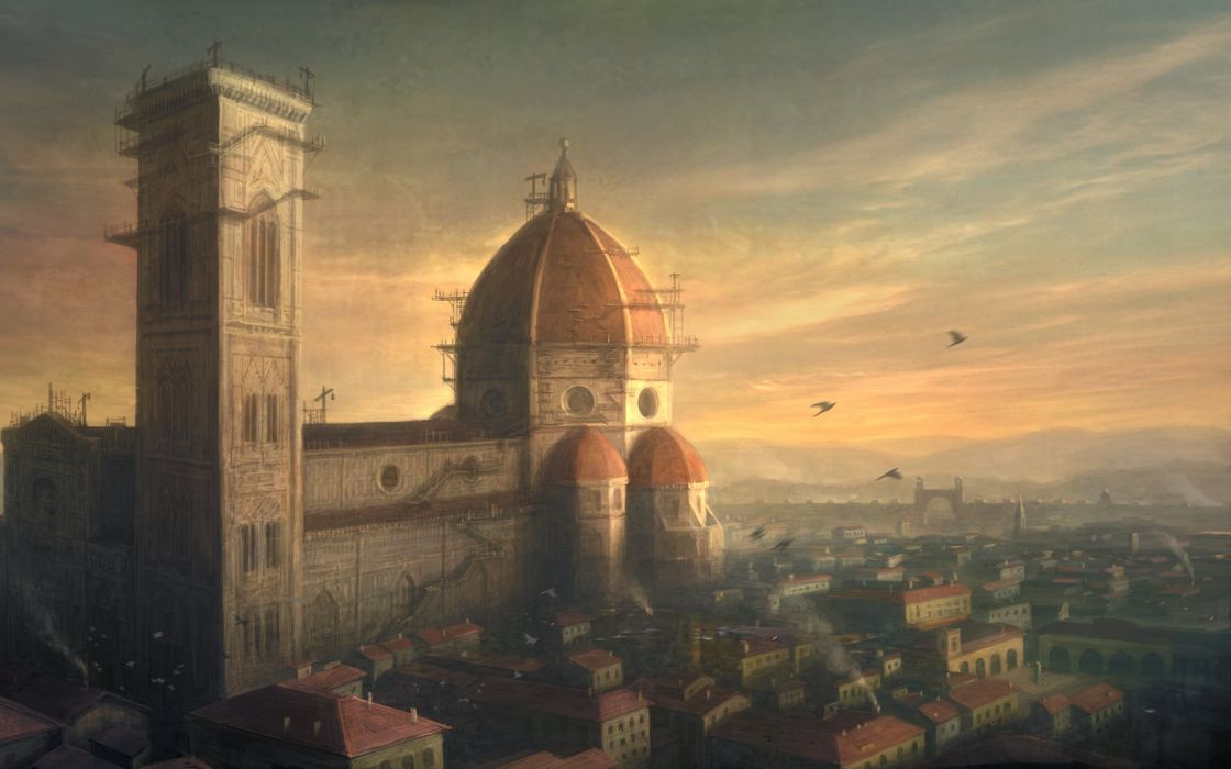 Assassins Creed cityscapes Florence artwork Assassins Creed 2 Giottos Campanile Basilica of Saint Mary of the Flower wallpaper