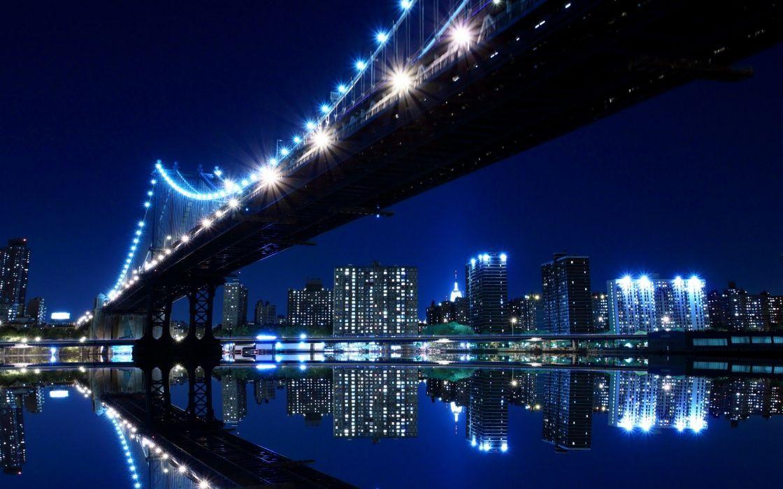 cityscapes night lights bridges scenic skyscapes wallpaper