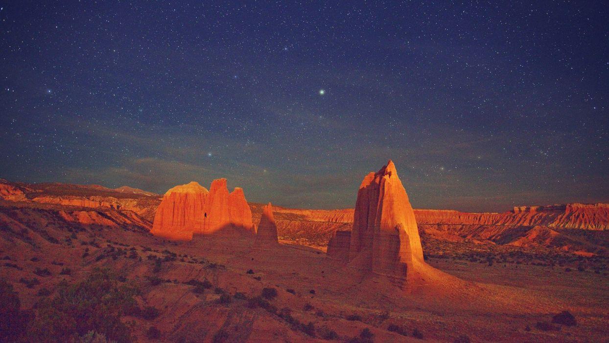 mountains landscapes nature stars deserts wallpaper