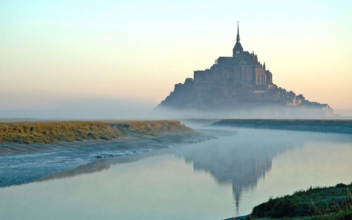 Normandy France simplistic Mount St_ Michael avion wallpaper