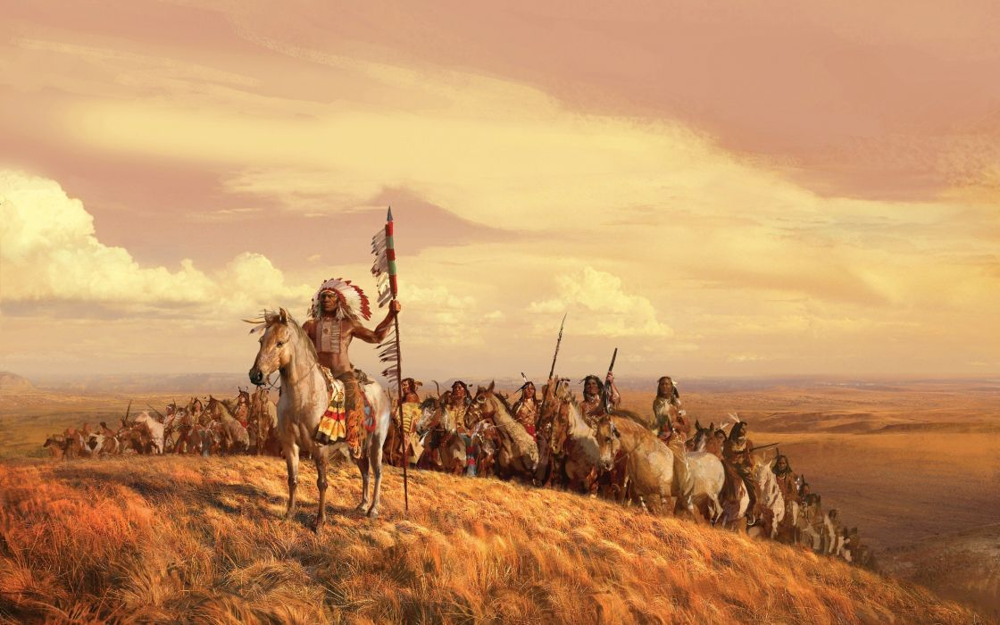 paintings landscapes valleys horses Indians artwork spears skyscapes leader tribes wallpaper