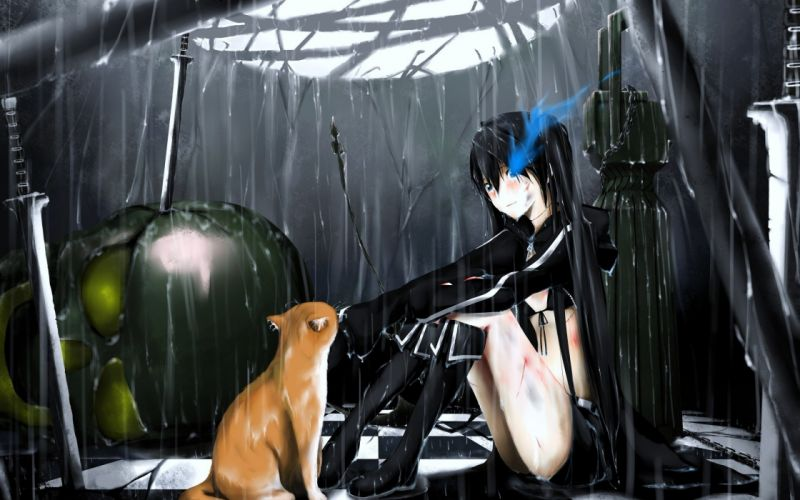 Black Rock Shooter rain cats wet blush Kuroi Mato wallpaper