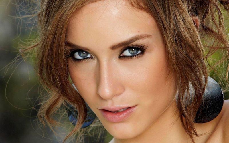 brunettes women close-up eyes blue eyes Malena Morgan faces wallpaper