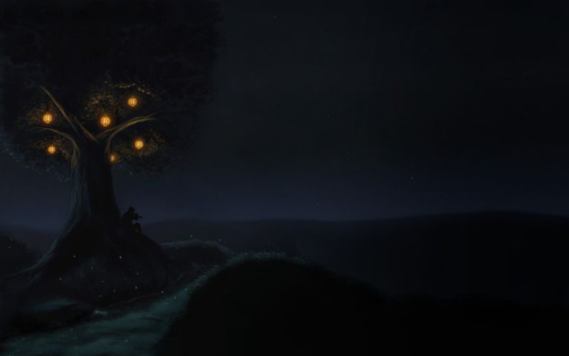 trees night silhouettes lanterns lonely artwork wallpaper