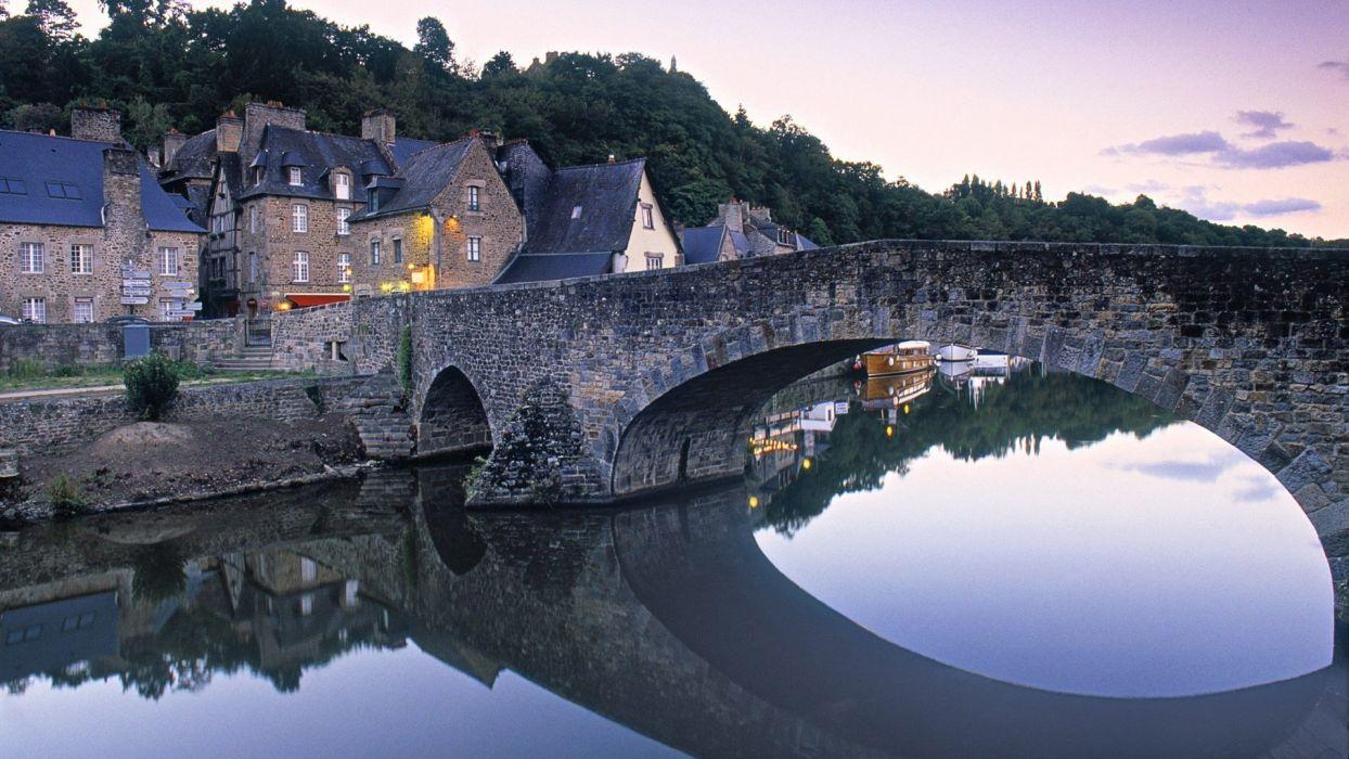 landscapes France bridges villages Bretagne wallpaper
