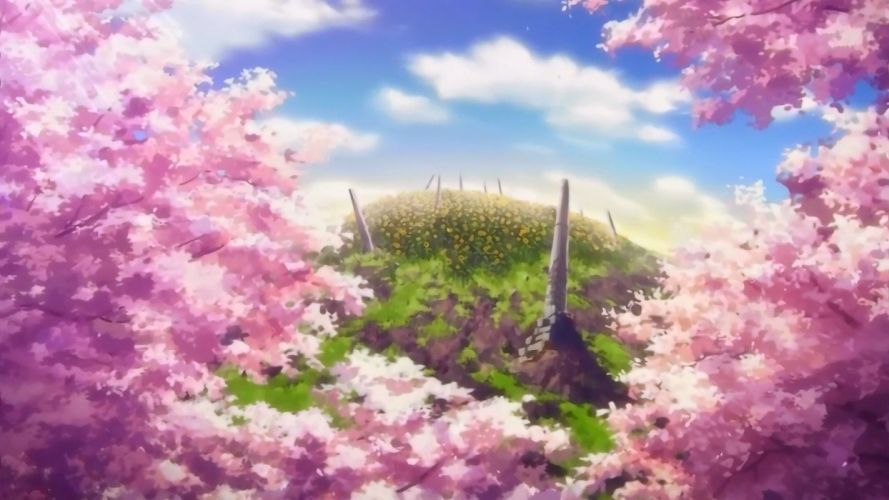 clouds cherry blossoms hills anime cherry tree sun rays sun flower wallpaper