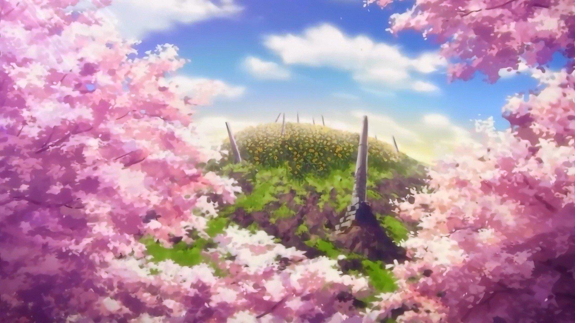 clouds cherry blossoms hills anime cherry tree sun rays sun flower wallpaper
