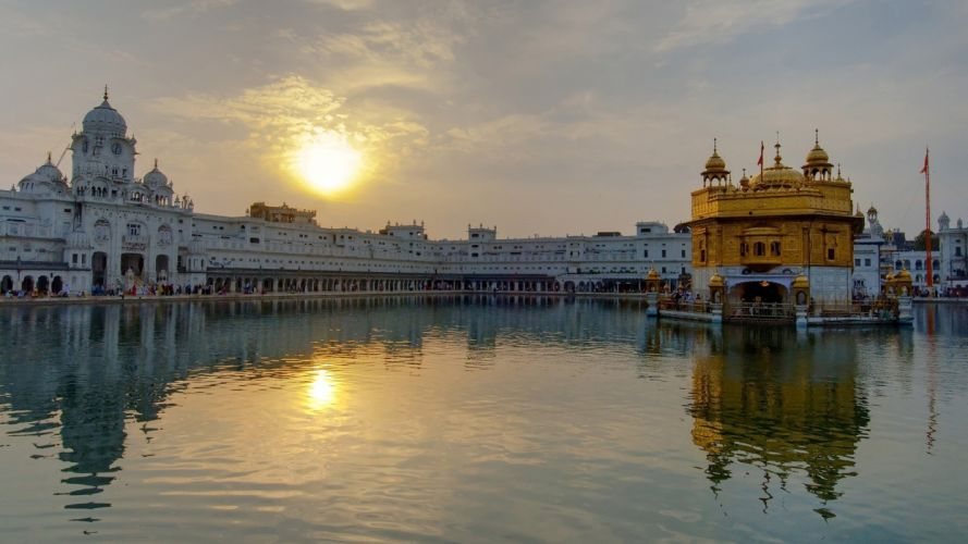 water cityscapes Golden Temple Amritsar wallpaper
