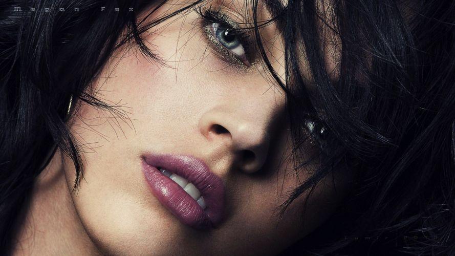 brunettes women eyes Megan Fox actress lips celebrity Lumir wallpaper