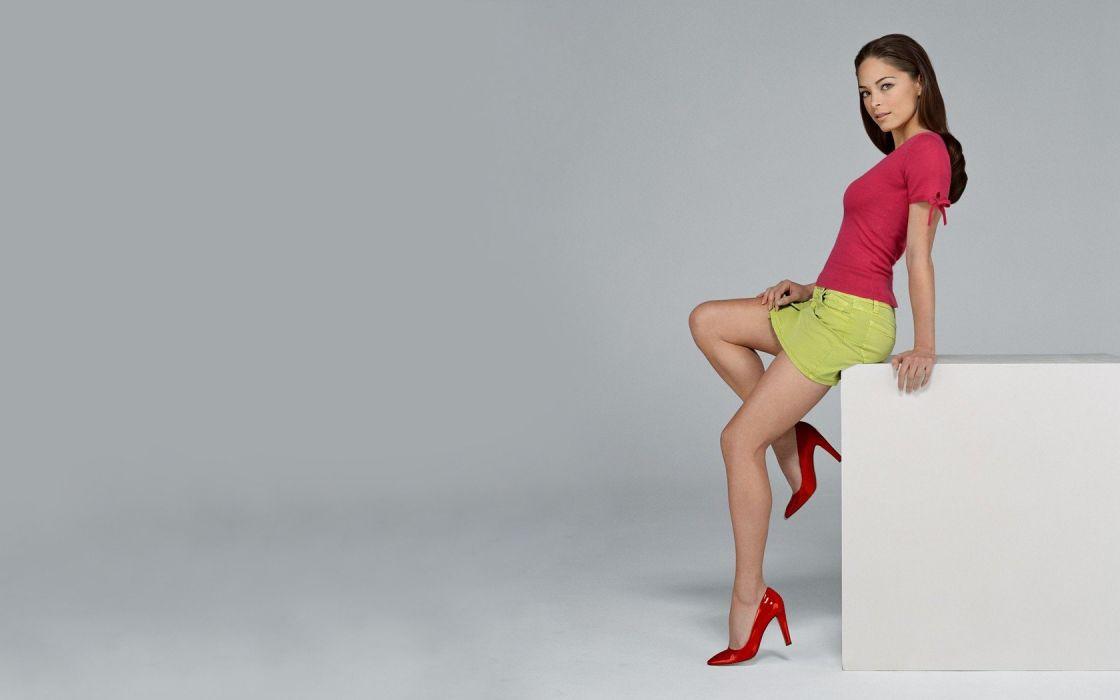 brunettes actress celebrity Kristin Kreuk miniskirts euroasia grey background mini skirts red shoes wallpaper