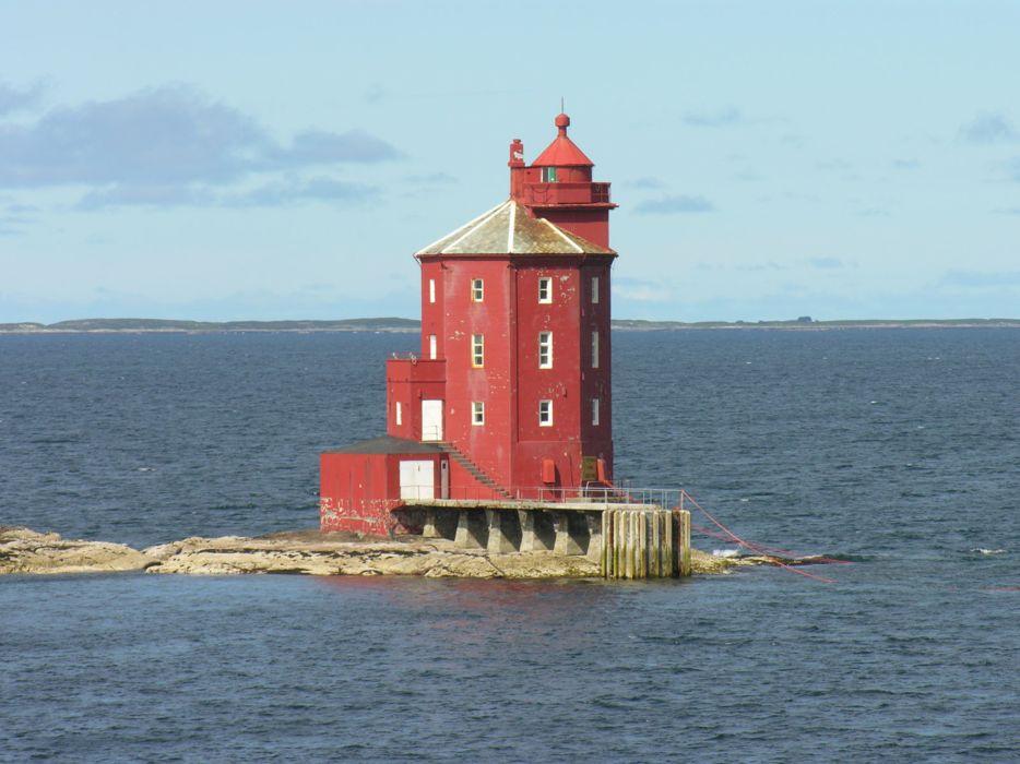 lighthouse-of-kjeungskjaer sea red 4000x3000 wallpaper