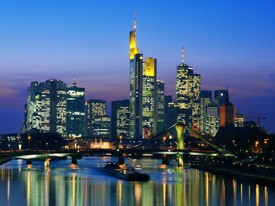 Skyline Night Frankfurt Germany cityscape city 4000x3000 building wallpaper