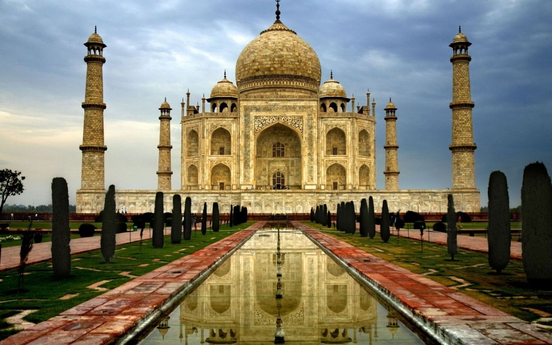 taj mahal india monument garden wallpaper