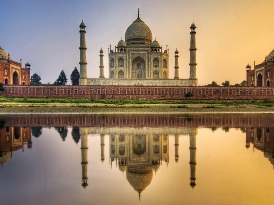 taj mahal india monument lake 4000x3000 wallpaper