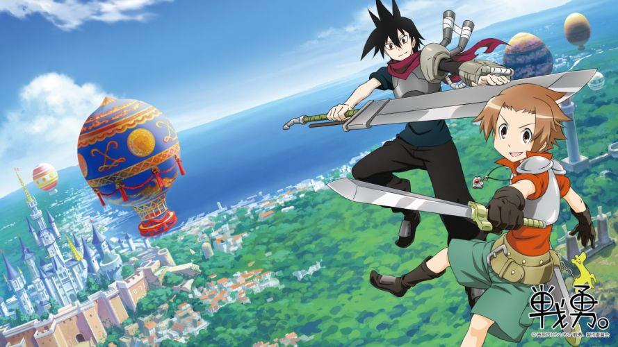 aircraft all male armor boots brown eyes city clouds gloves logo male necklace scarf senyuu_ short hair shorts sword water watermark weapon windmill wallpaper