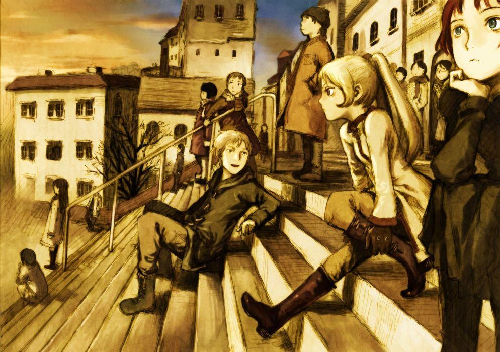 abe yoshitoshi blonde hair boots building gloves long hair male original stairs tree wallpaper