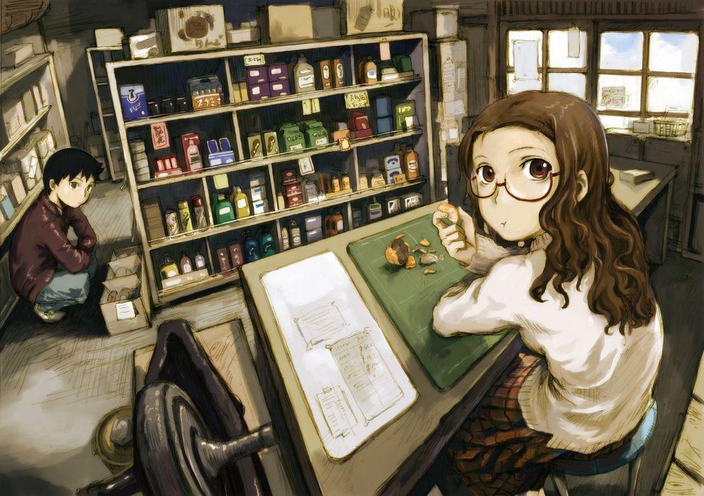 abe yoshitoshi black hair brown hair fruit glasses long hair male red eyes short hair skirt wallpaper