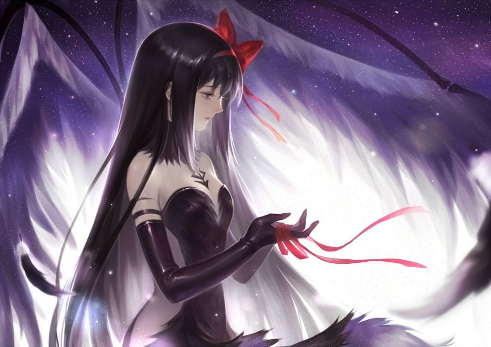 akemi homura akuma homura black hair bow dress elbow gloves feathers long hair mahou shoujo madoka magica ribbons wings yew5fish wallpaper