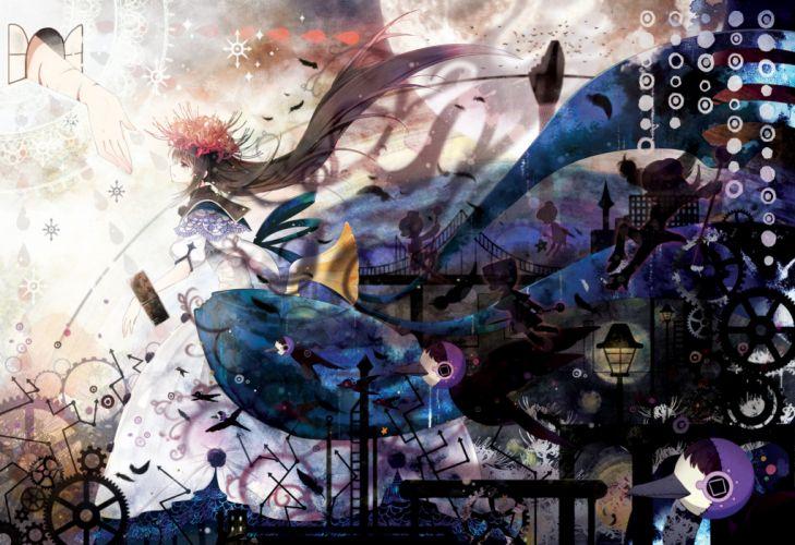 akemi homura black hair dress feathers flowers long hair mahou shoujo madoka magica purple eyes rednian wallpaper