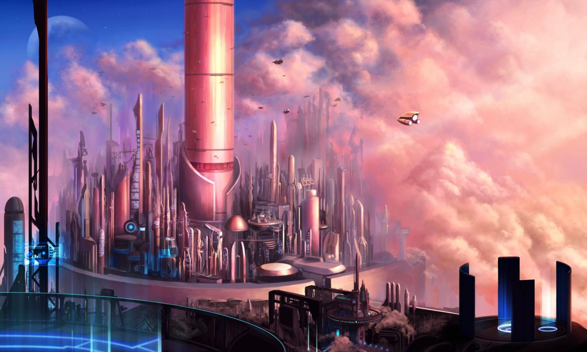 aircraft building city clouds hisui-hitomi nobody original planet scenic sky wallpaper