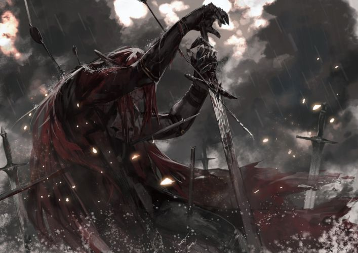 alcd all male armor blood cape dark long hair male pixiv fantasia rain red hair sword water weapon wallpaper