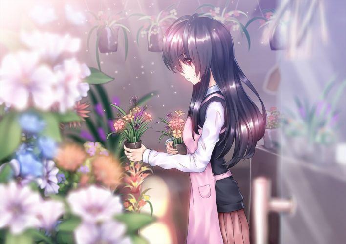 amemaku apron black hair flowers long hair original red eyes seifuku skirt wallpaper