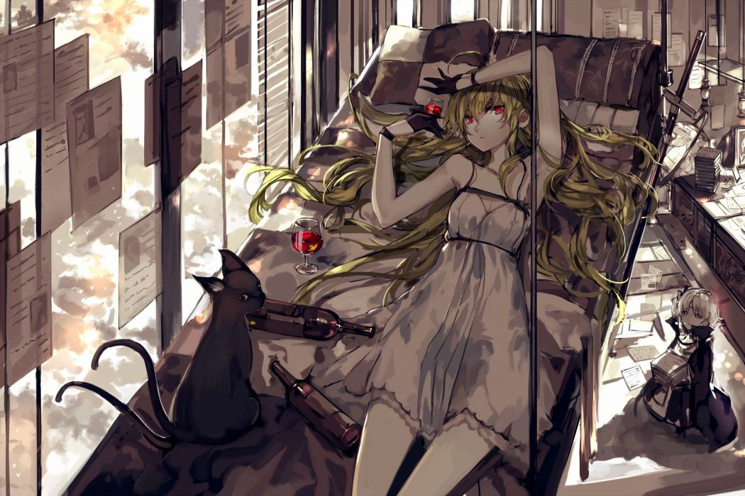 animal armeechef blonde hair cat dress gloves pixiv fantasia red eyes saberiii sword weapon wallpaper