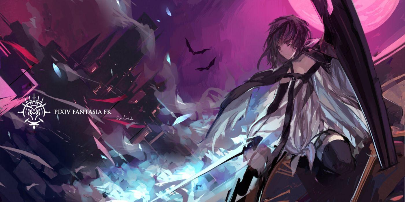 animal bat black hair cape dress pink eyes pixiv fantasia short hair swd3e2 sword thighhighs weapon wallpaper