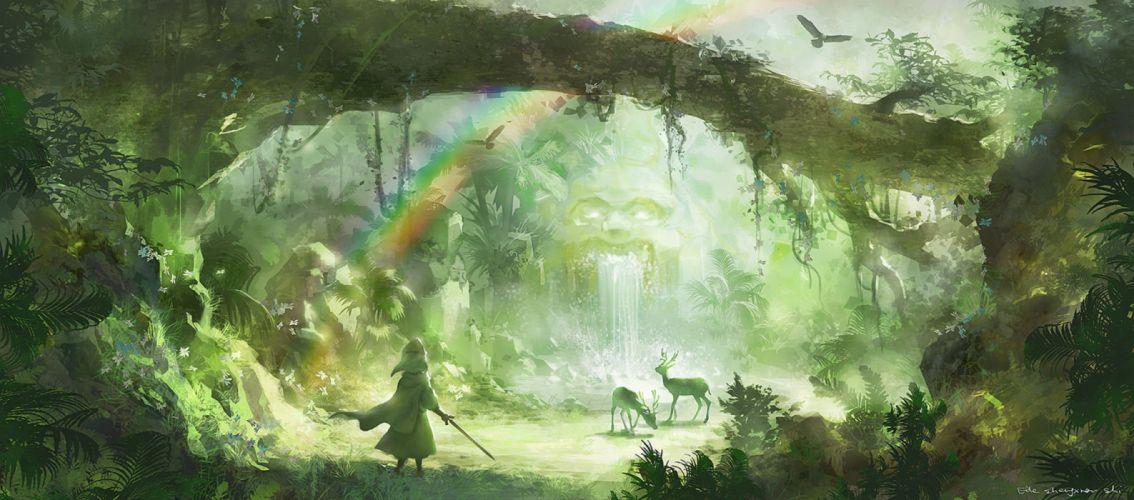animal bird cape forest hat lost elle original rainbow scenic sword tree water waterfall weapon wallpaper