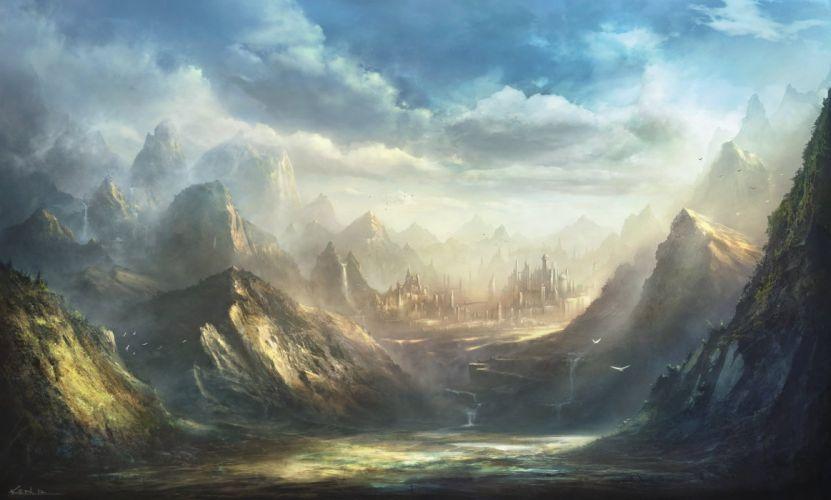 animal bird building clouds korbox landscape nobody original scenic sky water wallpaper