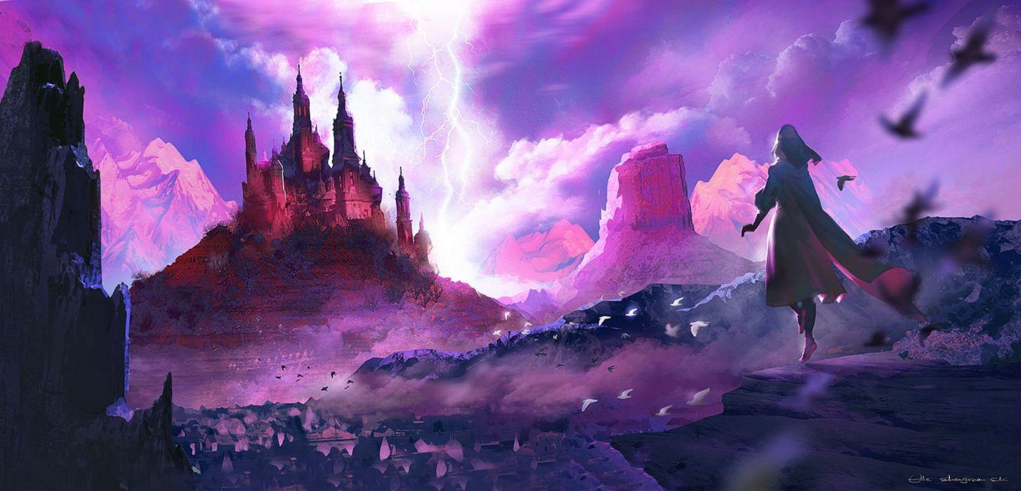 animal bird building clouds dress headdress landscape lost elle original pixiv fantasia scenic signed sky wallpaper