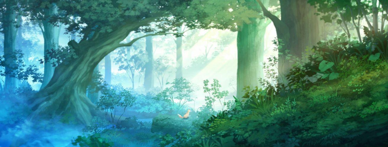 animal forest fox grass juuyonkou original scenic tree wallpaper