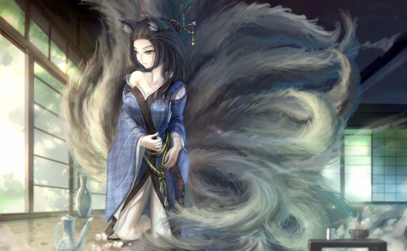 animal ears black hair blue eyes foxgirl japanese clothes kikivi kimono long hair multiple tails original tail wallpaper