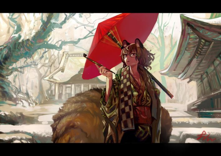 animal ears brown eyes brown hair futatsuiwa mamizou glasses japanese clothes multiple tails onion (onion and pi-natto) tail touhou umbrella wallpaper