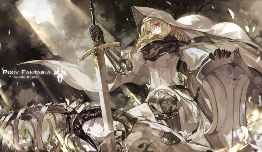 armor blonde hair braids brown eyes petals pixiv fantasia saberiii sword weapon wallpaper