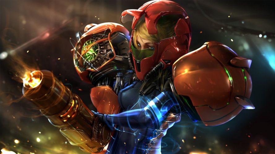 armor blonde hair bodysuit gun metroid realistic samus aran weapon wen-jr wallpaper
