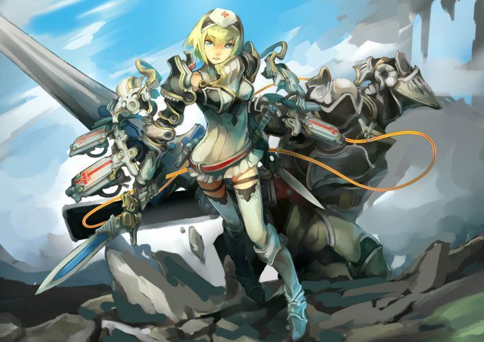 armor blonde hair blue eyes cocoaore mechagirl original spear sword thighhighs weapon wallpaper