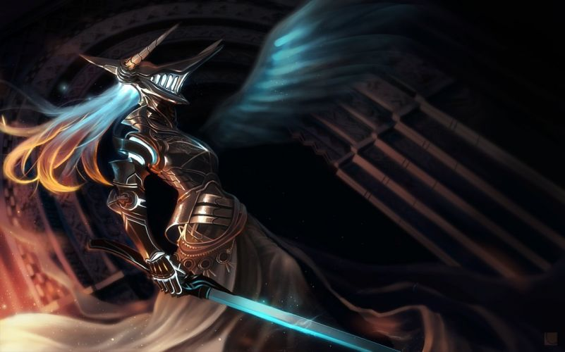 armor carv long hair original sword weapon wings wallpaper