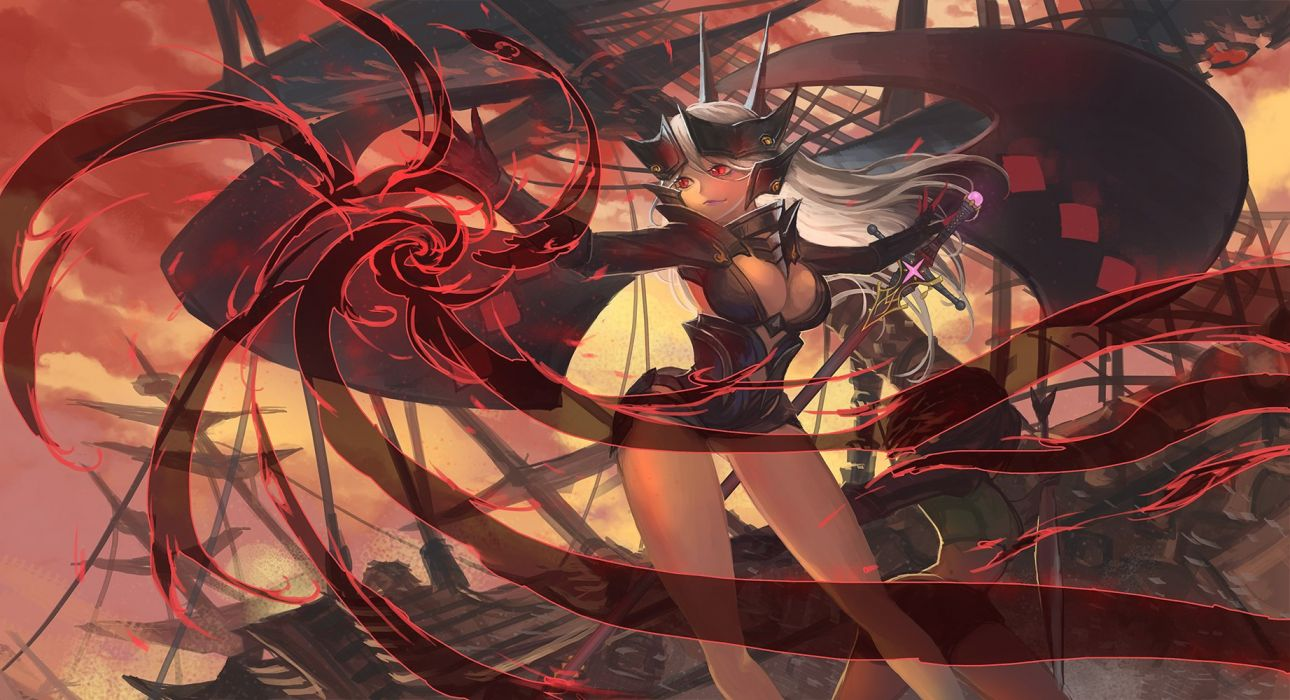 armor breasts cleavage pixiv fantasia quaanqin red eyes sword weapon white hair wallpaper