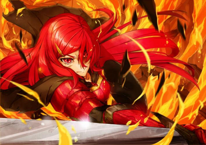 armor cape fire pixiv fantasia red eyes red hair shanpao sword weapon wallpaper