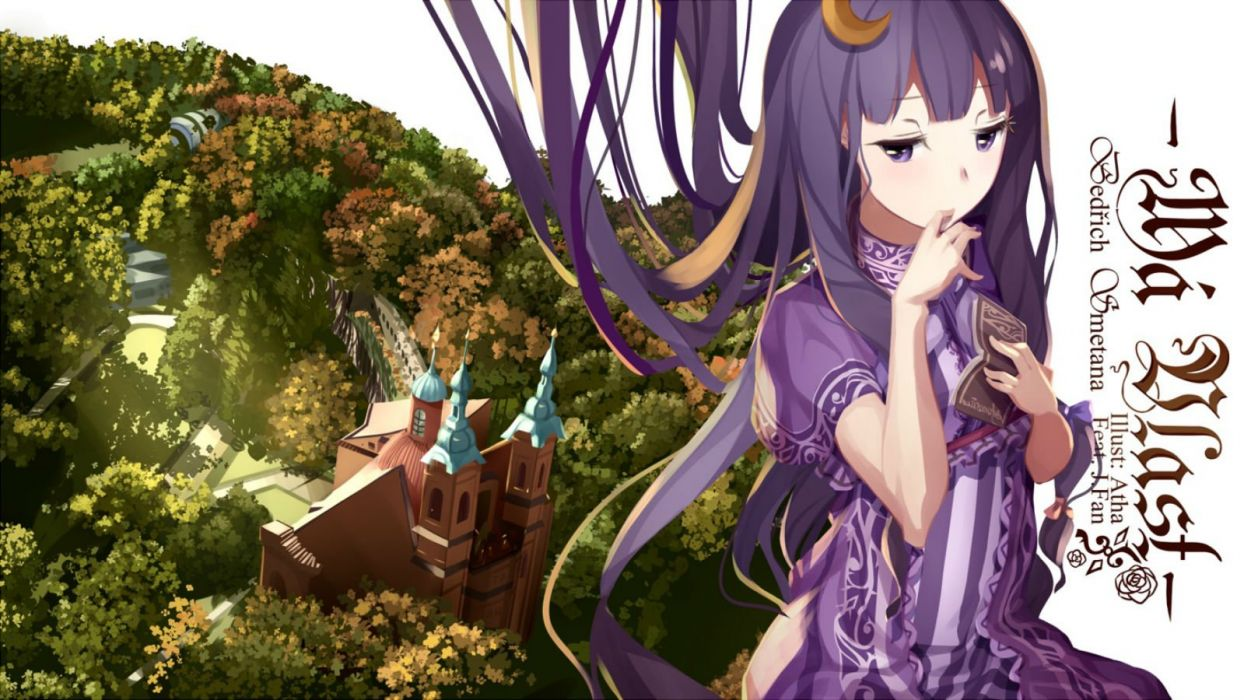 atha book building dress forest long hair patchouli knowledge purple eyes purple hair touhou tree wallpaper