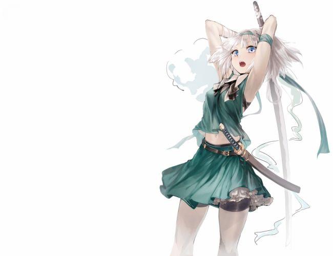 bandage blue eyes geppewi headband katana konpaku youmu myon navel short hair skirt sword thighhighs touhou weapon white white hair wallpaper