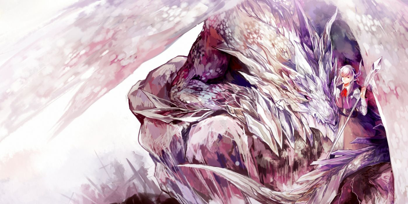 azalea dragon long hair pixiv fantasia red eyes spear weapon white hair wallpaper