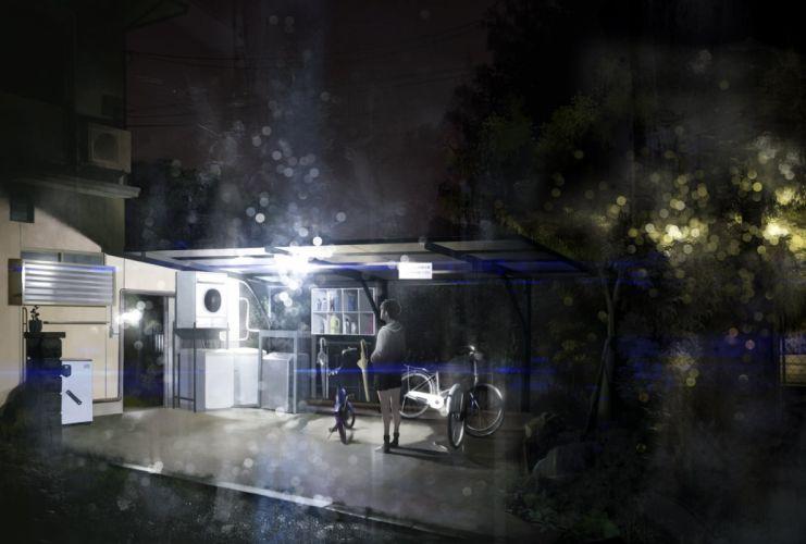 bicycle building dark night original shiira short hair shorts skirt tree umbrella wallpaper