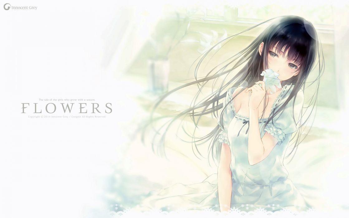 black eyes black hair flowers flowers (game) innocent grey long hair shirahane suou sugina miki wallpaper