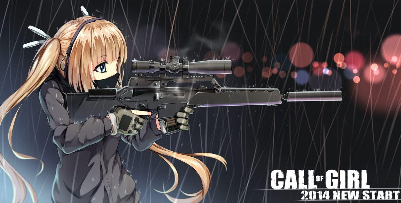 black eyes blonde hair gloves gun headphones mask original rain ribbons twintails water weapon yuri shoutu wallpaper